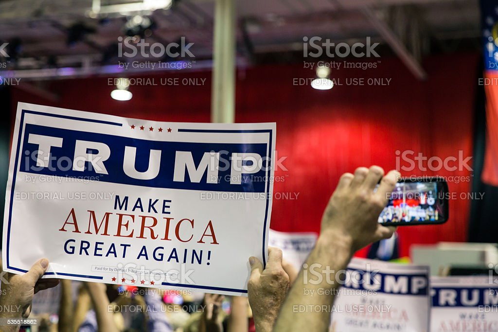 Presidential candidate Donald Trump's banner stock photo