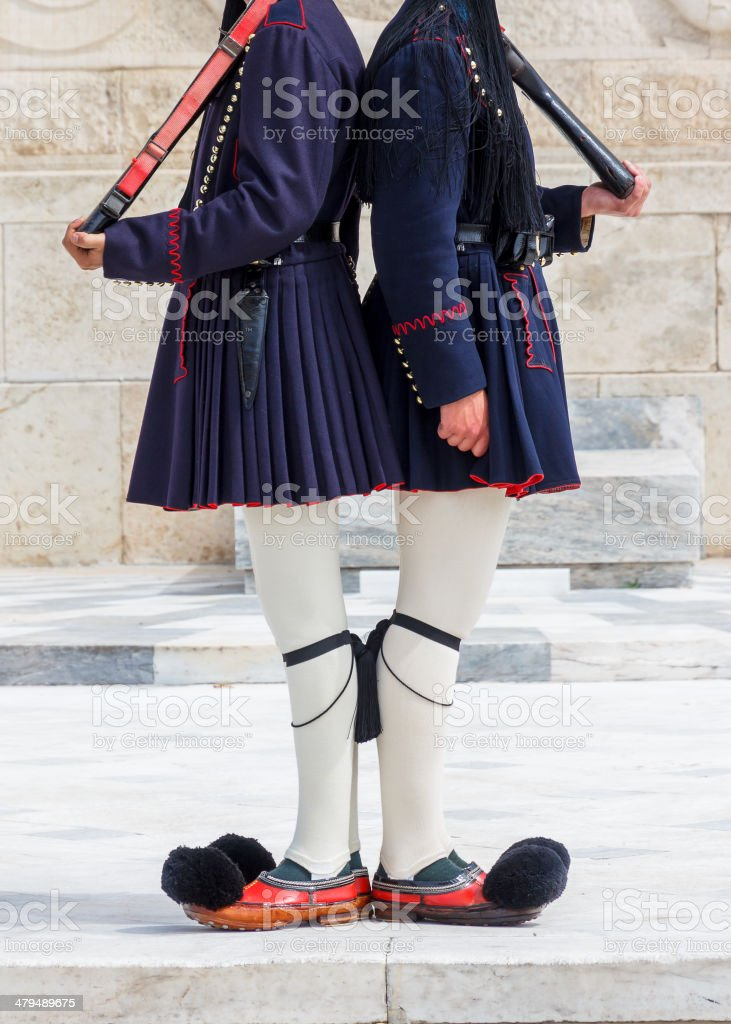 Presidential ceremonial guards in Greece stock photo