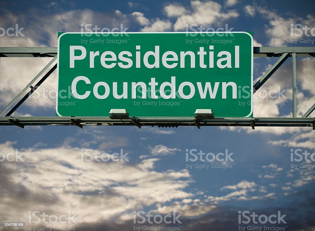A road sign concept that says \'Presidential Countdown.\'
