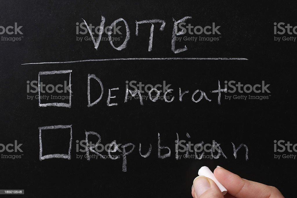 US Presidential Election 2012 Vote: Democrat/Republican chalk text on a blackboard. Blackboard - Visual Aid Stock Photo