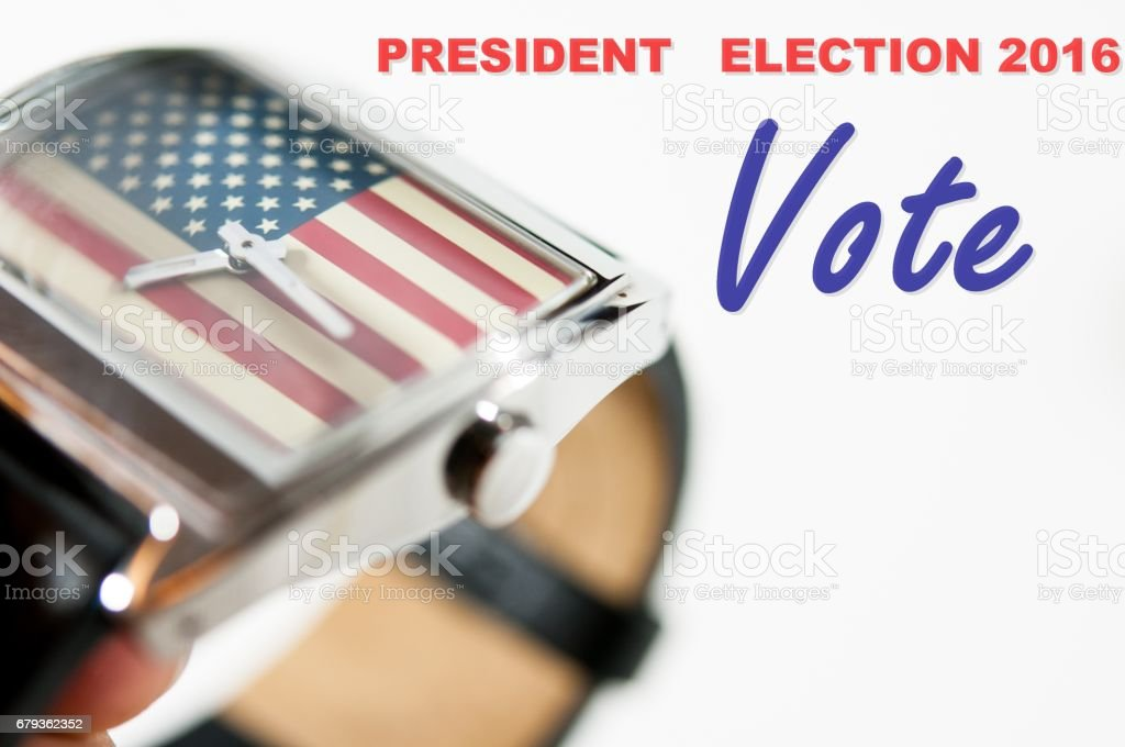 Presidential Election 2016 written on background and the USA flag in watch, vote for america, time for vote 2016 royalty-free stock photo