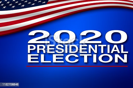 507831160 istock photo 2020 Presidential Election banner with USA flag 1152706846