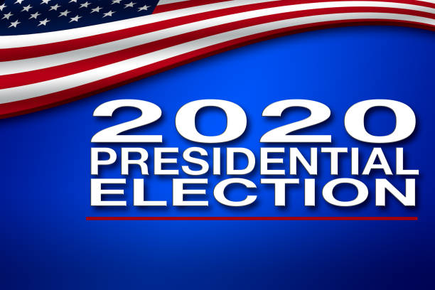 2020 Presidential Election banner with USA flag stock photo