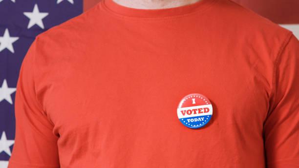 Presidential election button on a man stock photo