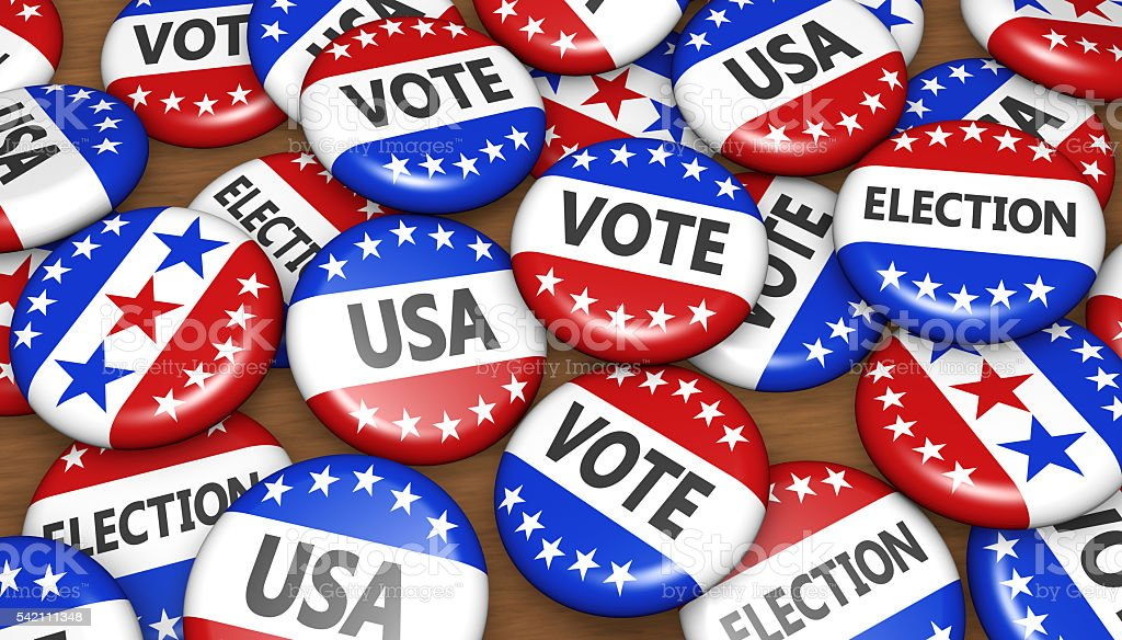 US Presidential Election USA Badges Concept stock photo