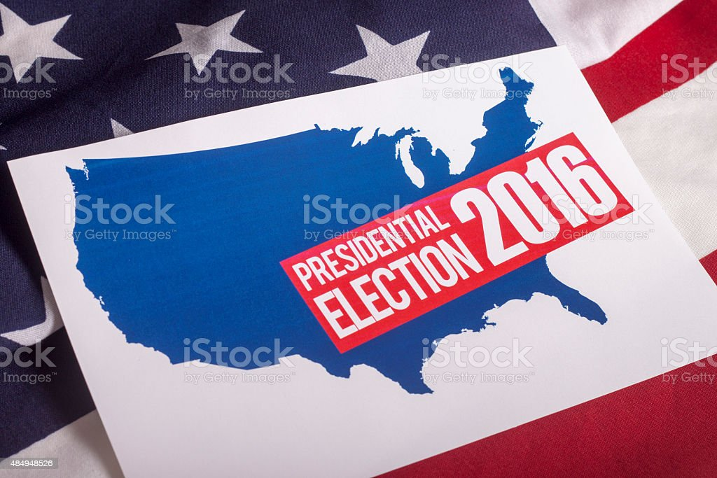 Presidential Election Vote and American Flag stock photo