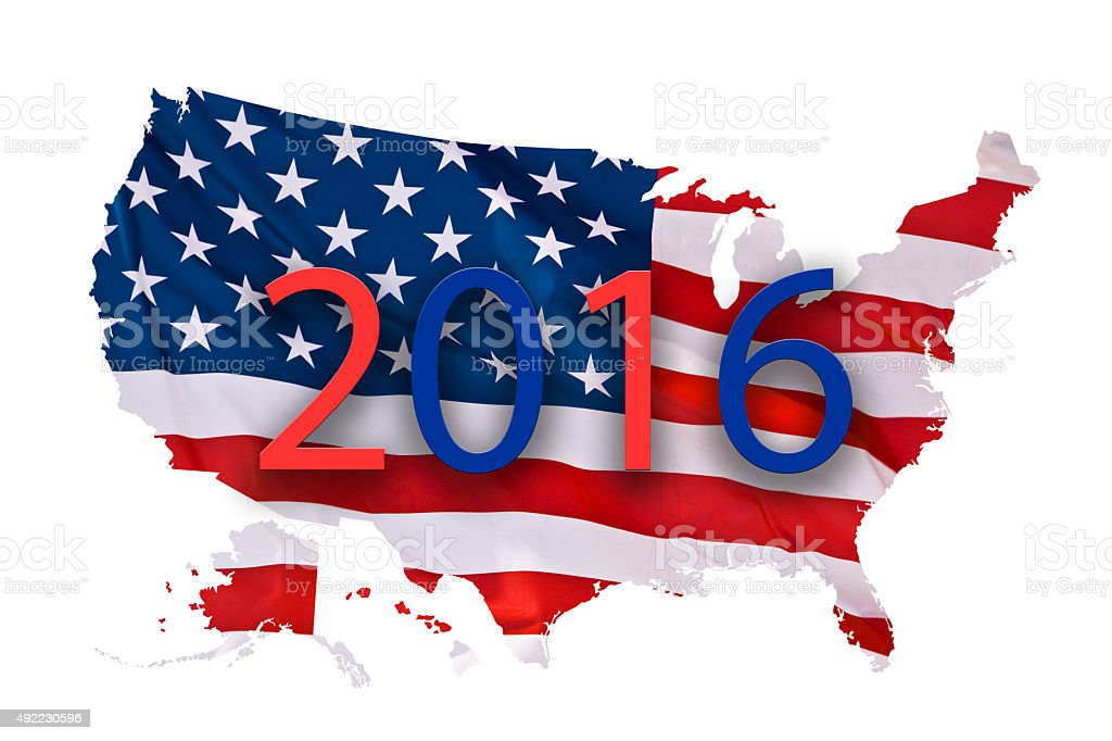 2016 US presidential elections map concept isolated on white background stock photo