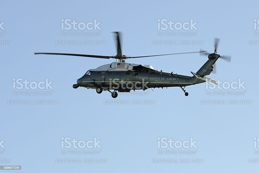 US presidential helicopter Marine One over Amsterdam stock photo