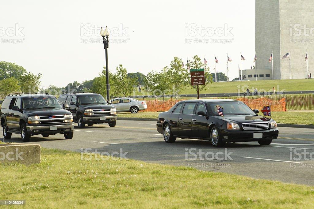 Presidential Limo near Washington Monument with a British flag stock photo