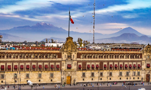 Presidential National Palace Balcony Snow Mountain Mexico City Mexico – Foto