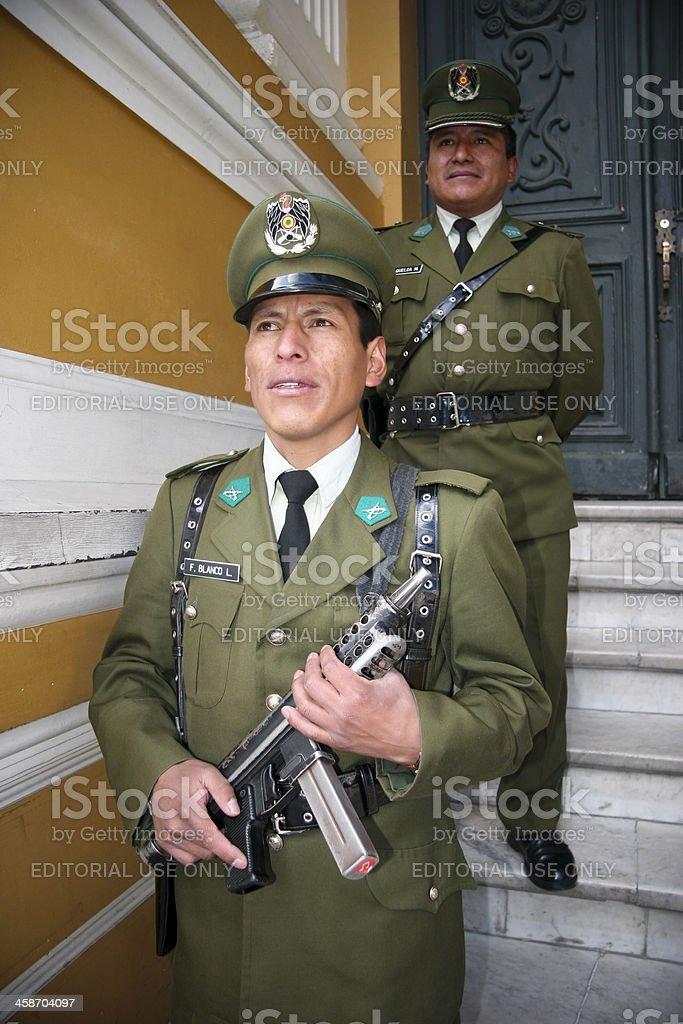 Presidential Palace Guards Palacio Quemado La Paz royalty-free stock photo