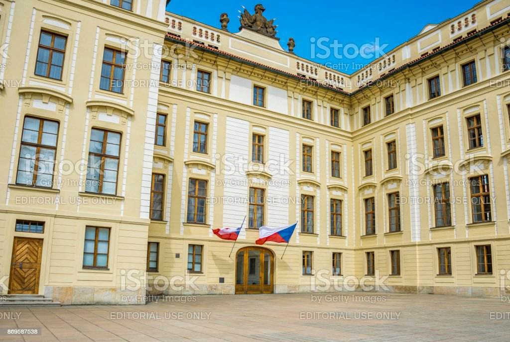 Presidential Palace in Prague, Czech Republic. Historical royal quarter of the city stock photo