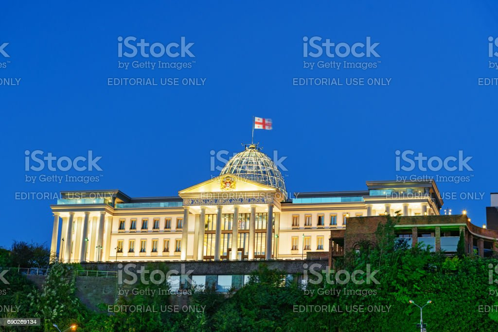 Presidential Palace of Georgia in Tbilisi at night stock photo