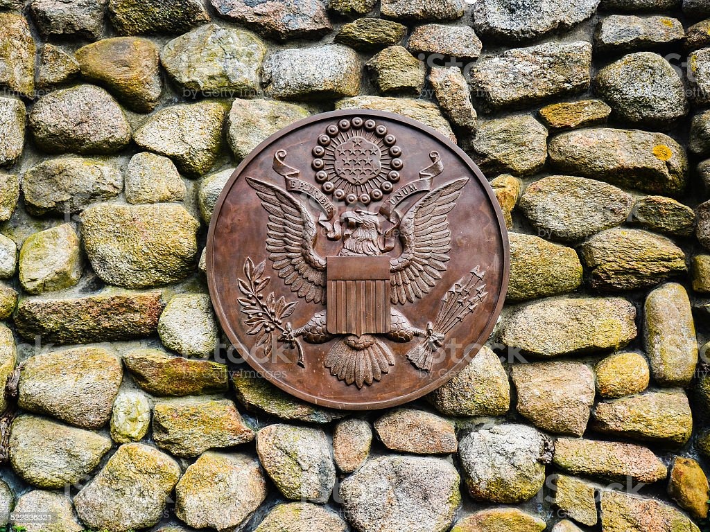 Presidential Seal at JFK Memorial - Hyannis, MA stock photo