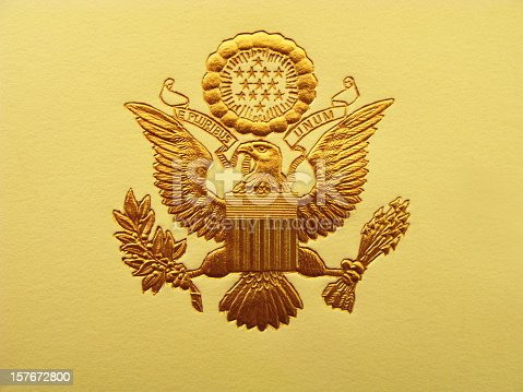 The Seal of the President of the United States is used to mark correspondence from the U.S. president to the United States Congress, and is also used as a symbol of the presidency. The central design, based on the Great Seal of the United States, is the official coat of arms of the U.S. presidency and also appears on the presidential flag.  The stripes on the shield represent the 13 original states, unified under and supporting the chief. The motto (meaning