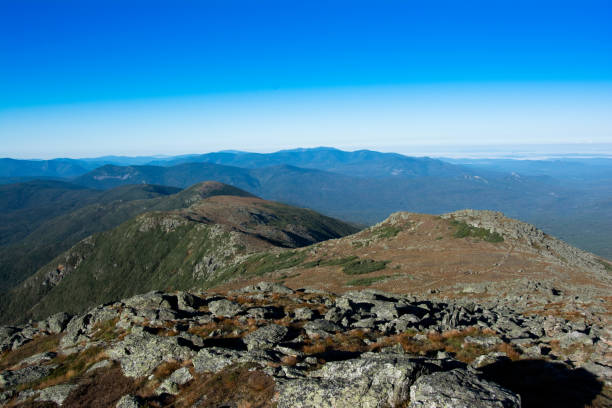 Presidential Traverse, White Mountains, New Hampshire Hiking Along Ridge Line of the Presidential Mountain Range. Camping above tree line. conway new hampshire stock pictures, royalty-free photos & images
