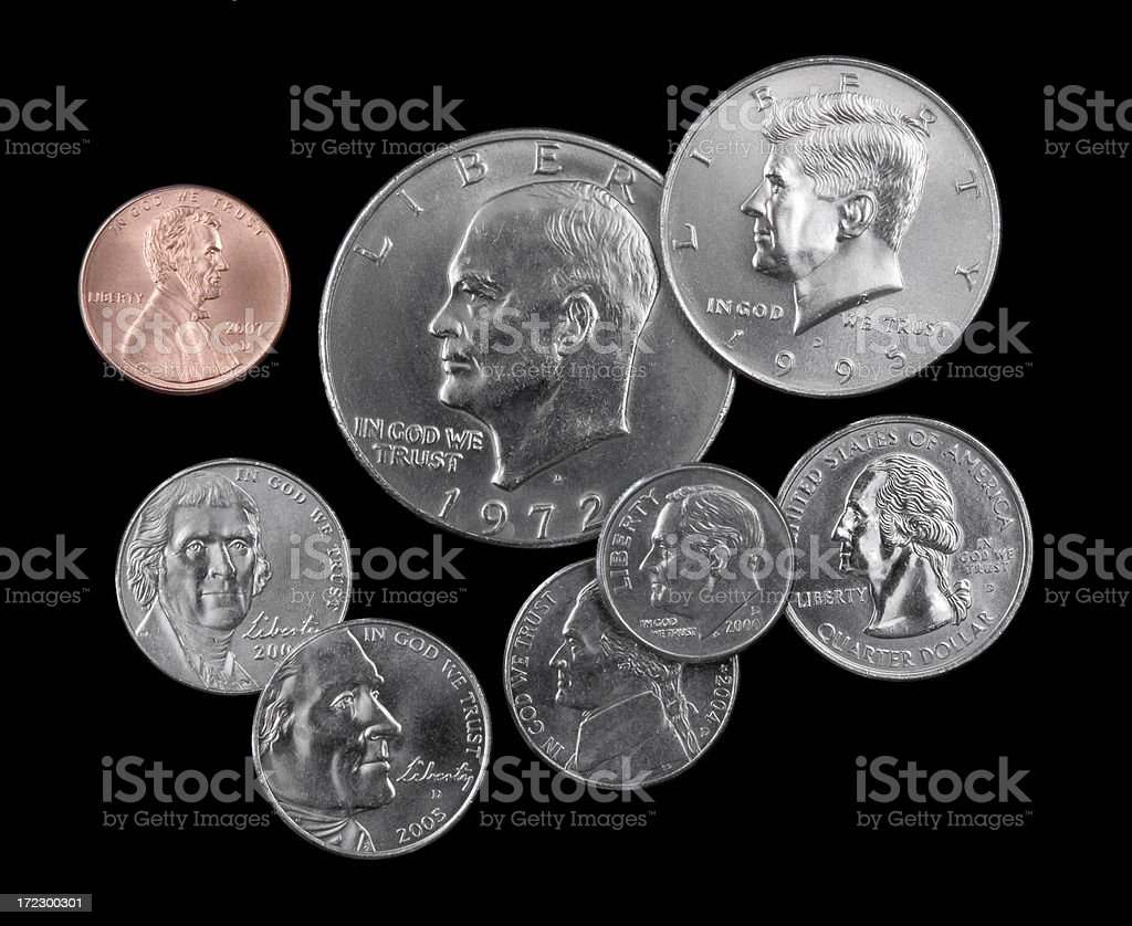 US Presidents Coins stock photo