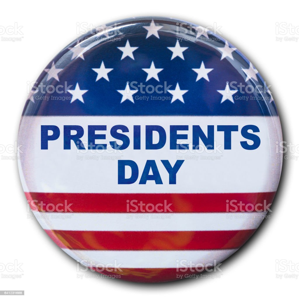 President's day button on white background stock photo