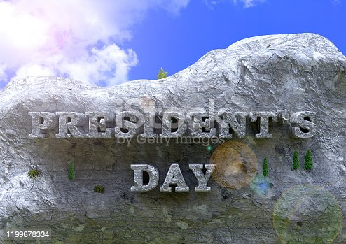 President's Day lettering sculpture in mountain rock. United States of America Celebration. 3D rendering