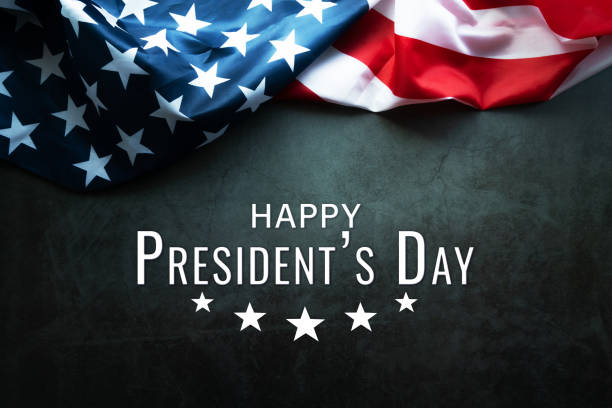 Presidents' Day Typography abstract Background with American Flag stock photo