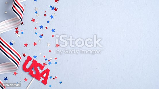 508026042 istock photo Presidents Day USA, Independence Day, US election concept. American national colors ribbon, confetti stars and sign