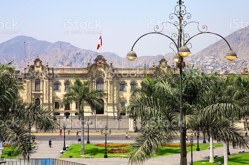 President's residence in Lima historical Center stock photo