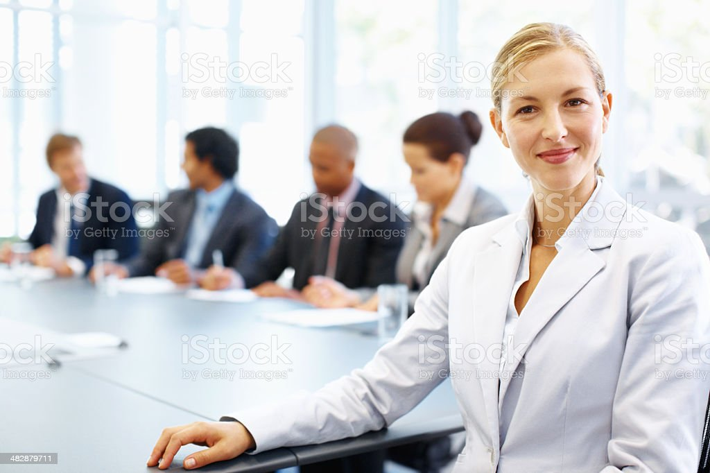 Presiding over an important meeting royalty-free stock photo
