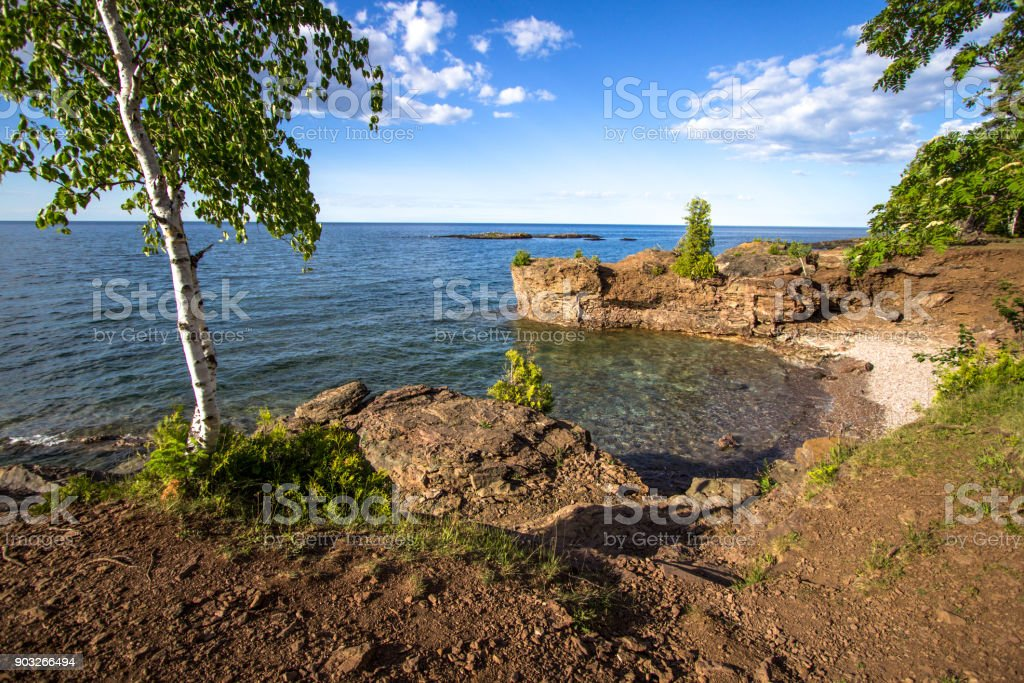 Presque Isle Park On Lake Superior In Marquette Michigan Presque Isle Park stock photo