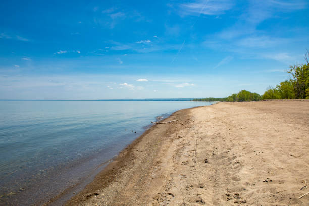 Presque Isle State Park Coastline The shore of Lake Erie in Presque Isle Stae Park in Erie, PA. sdominick stock pictures, royalty-free photos & images