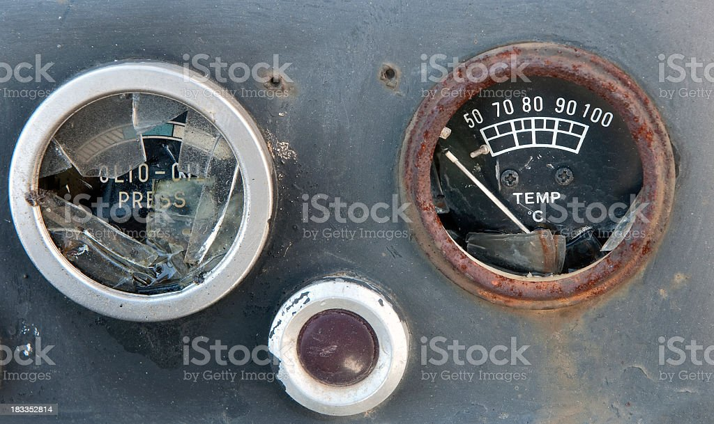 Press and oilmeter stock photo