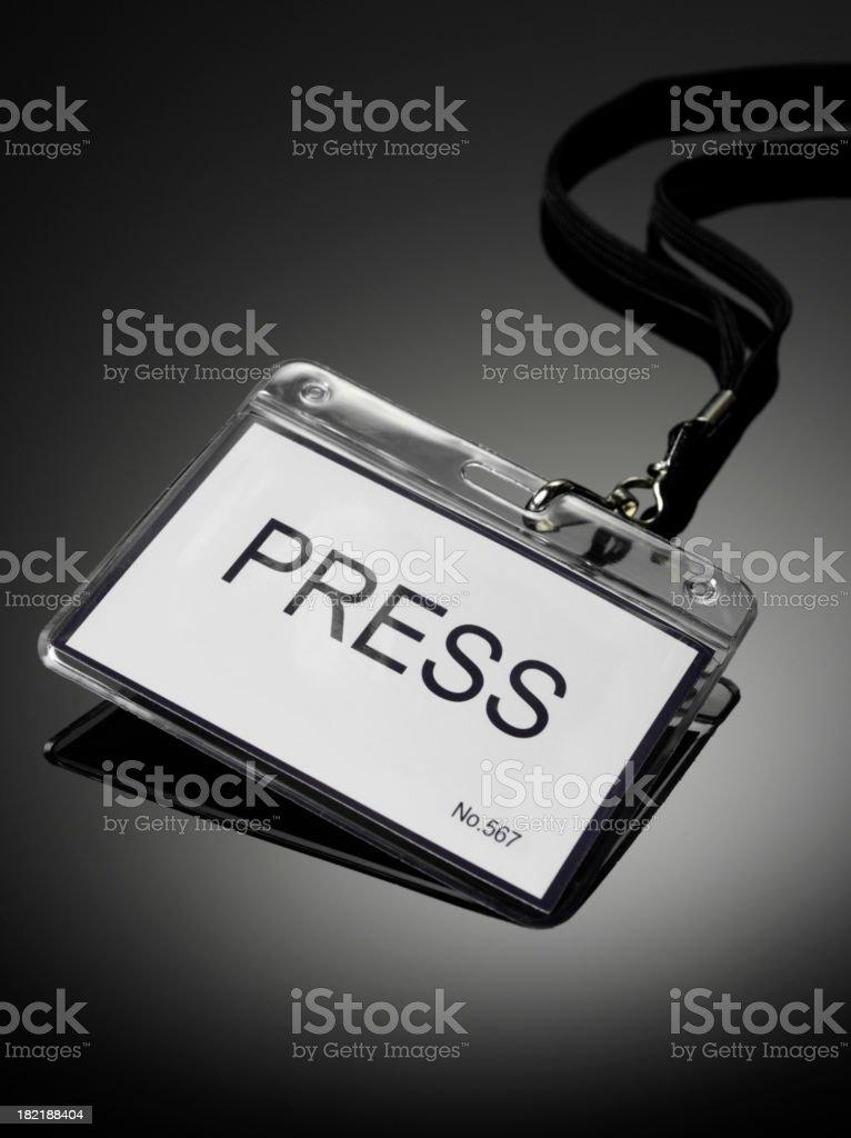 Press Badge in a Plastic Holder stock photo