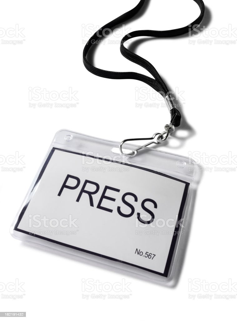 Press Badge in a Plastic Holder royalty-free stock photo