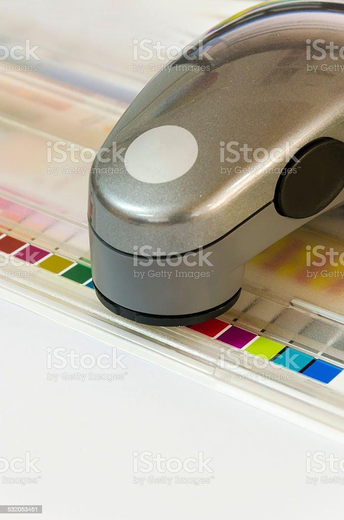 Press color management spectrophotometer device unit control stock photo