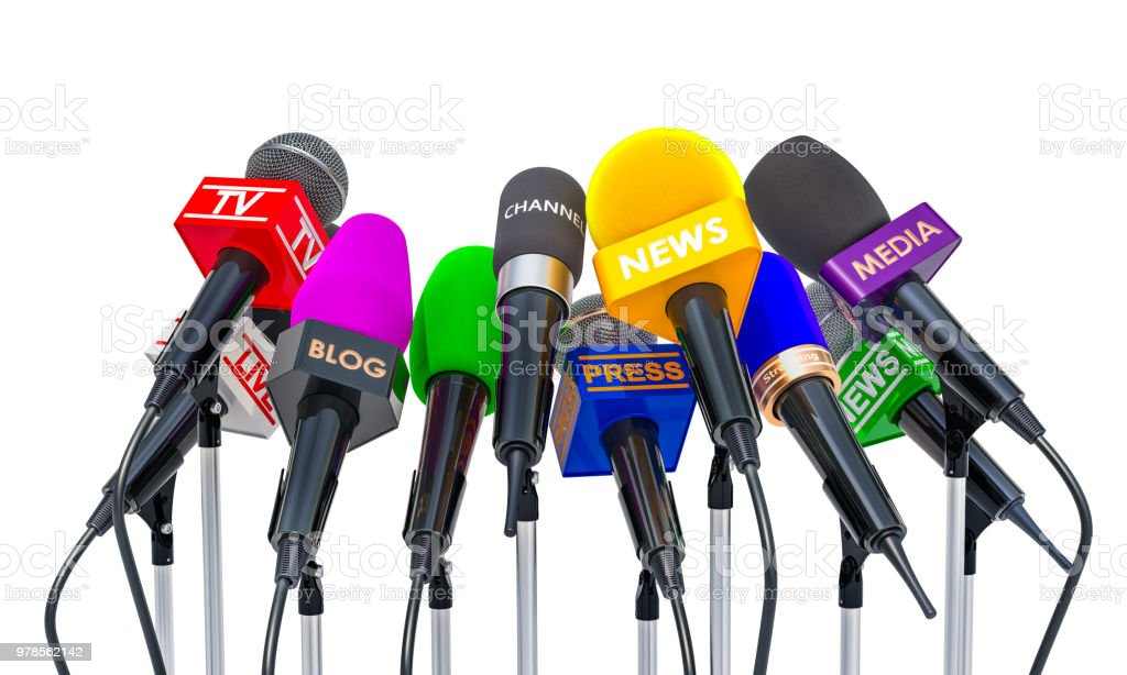 Press conference or interview concept. Microphones of different mass media, 3D rendering isolated on white background stock photo