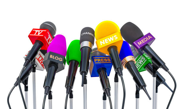 Press conference or interview concept. Microphones of different mass media, 3D rendering isolated on white background Press conference or interview concept. Microphones of different mass media, 3D rendering isolated on white background press conference stock pictures, royalty-free photos & images