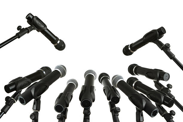 Press conference Many microphones isolated on white background press conference stock pictures, royalty-free photos & images