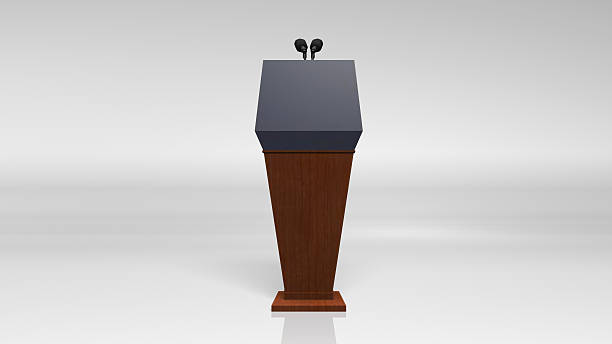 Press conference podium stand stock photo