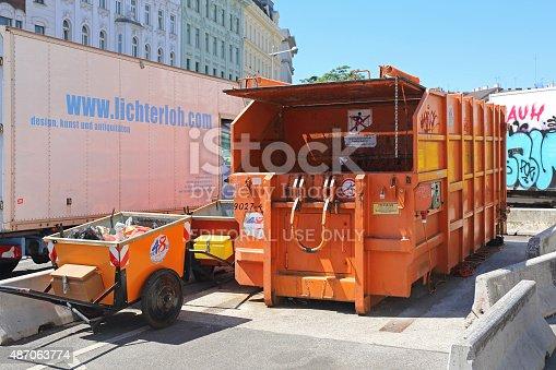 Vienna, Austria - July 11, 2015: Press Container Compactor in Wien, Austria.