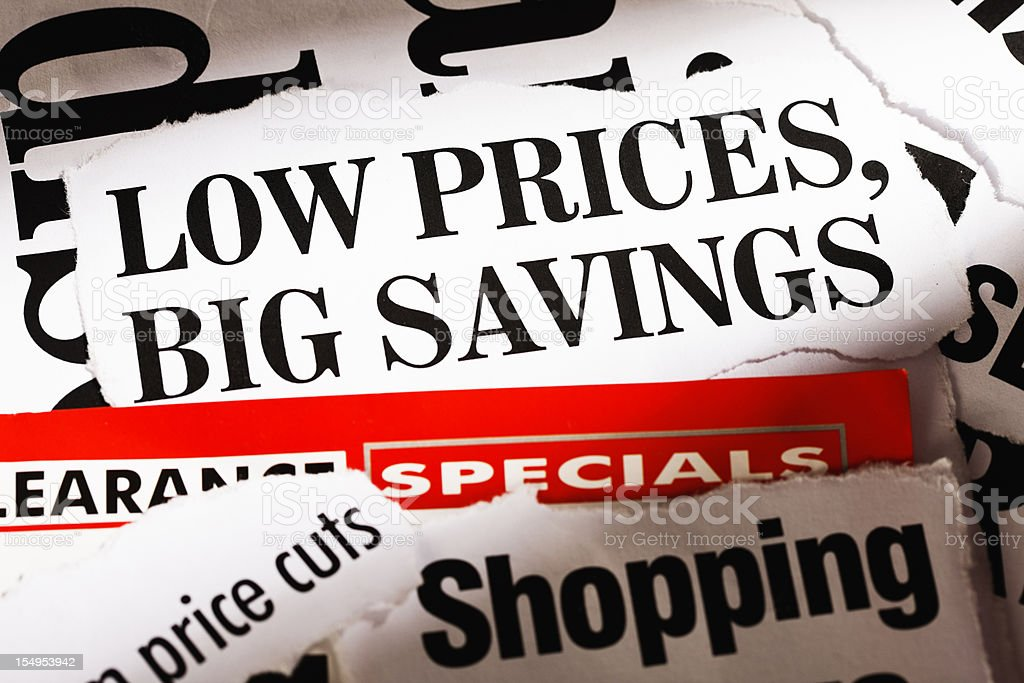 Press cuttings announcing low prices and big savings stock photo