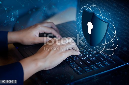 Press enter button on the keyboard computer Shield cyber Key lock security system abstract technology world digital link cyber security on hi tech Dark blue background, Enter password to log in. lock finger Keyboard