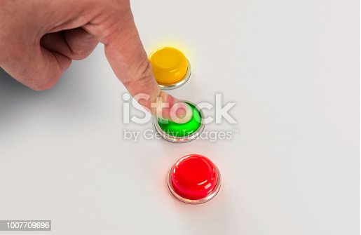 Press green button with finger