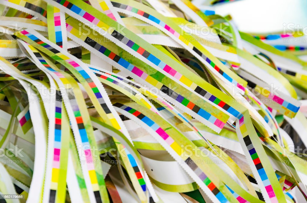 CMYK press marks color bar in offset print plant stock photo