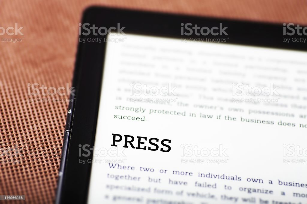 Press on ebook, tablet concept royalty-free stock photo
