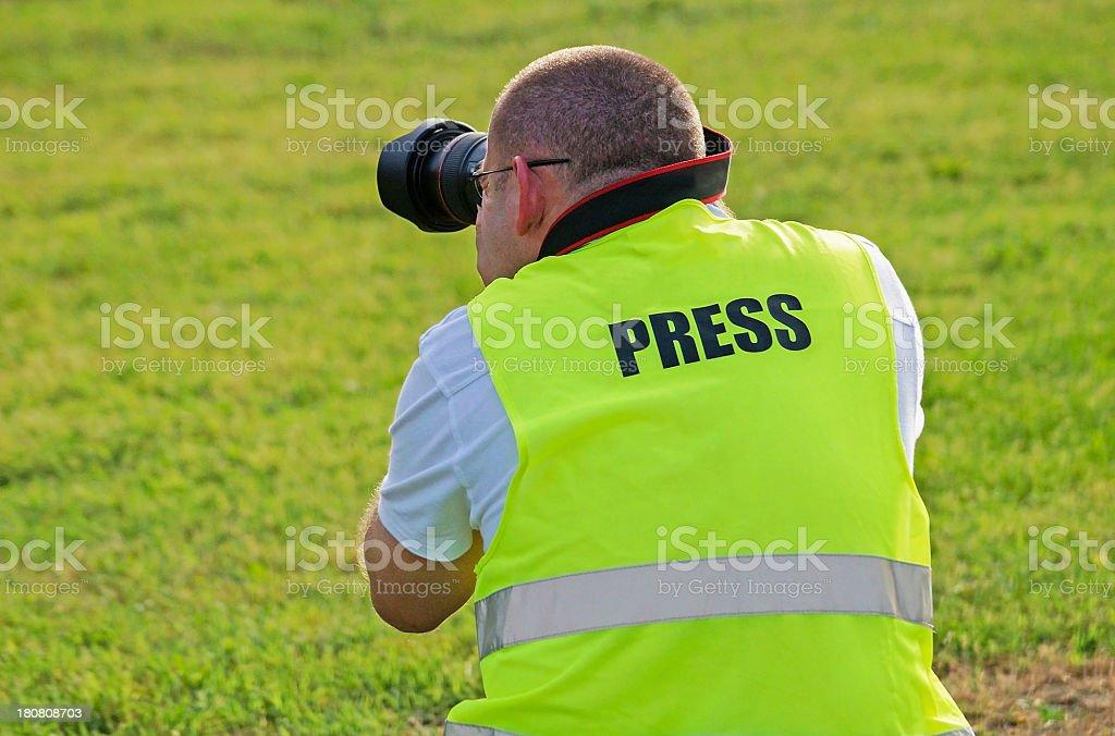 Press photographer stock photo