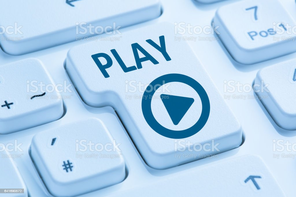 Press Play Button listening music movie internet blue computer keyboard stock photo
