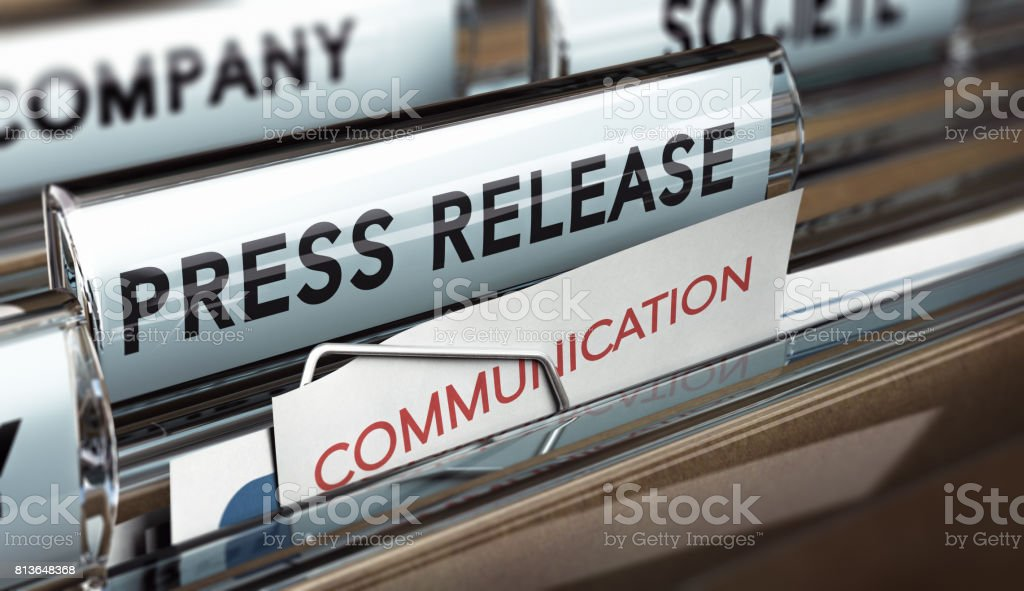 Press Release, Company Communication With Medias stock photo