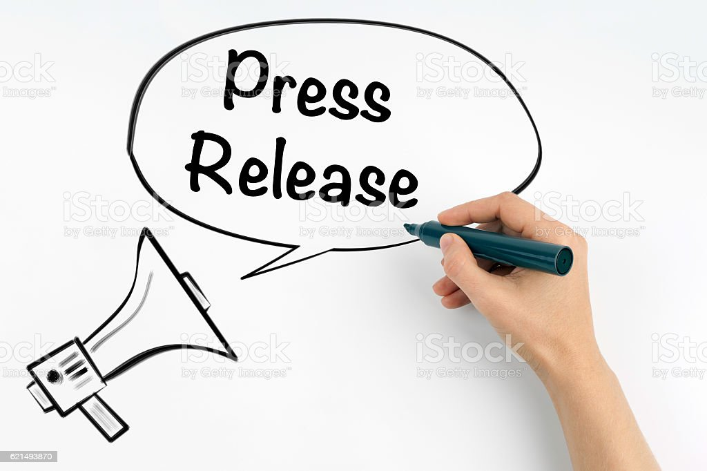 Press Release. Megaphone and text foto stock royalty-free