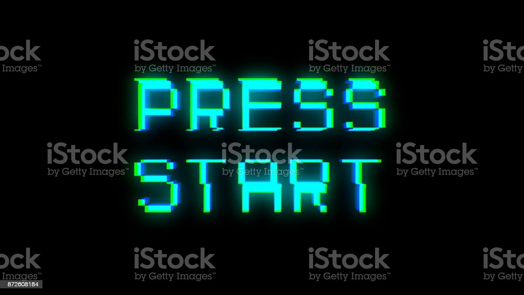 Press start text with bad signal stock photo
