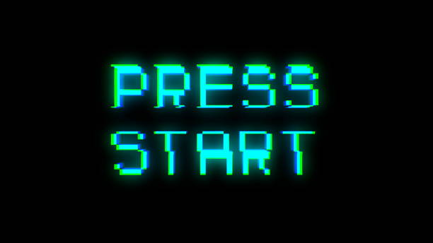 press start text with bad signal - spingere foto e immagini stock