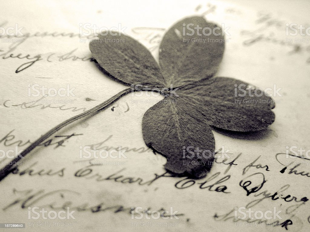 Pressed four-leaf clover in handwritten book royalty-free stock photo